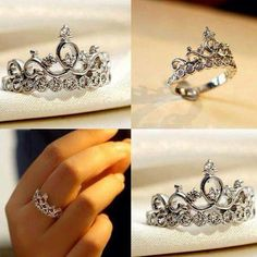 Unique Sparkle Princess Crown Ring Round Dimaond 925 Sterling Silver For Women's Cute Promise Rings, Cute Rings, Cute Jewelry, Silver Jewelry, Jewelry Accessories, Opal Jewelry, Jewelry Rings, The Bling Ring, Tiara Ring
