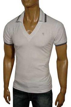 VERSACE Men's V-Neck Polo-Collar Shirt #100; $119.99    http://www.primerunway.com/Sweaters/GUCCI-Mens-V-Neck-Sweater-65