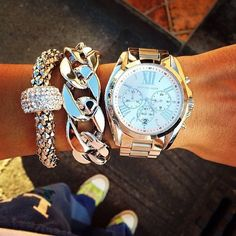 Michael kors watch and silver accessories #Michael #Kors #Watches