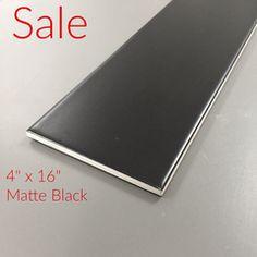 "Metro Subway Tile - (Matte) Black 4"" x 16"" Ceramic Wall Tile $3.49 square foot"