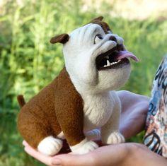 Bulldog Needle felted Dog MADE TO ORDER Needle felted animal Soft sculpture Handmade Felt doll  Dog animal Trend dog Miniature dog