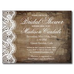 Rustic Country Lace Bridal Shower Invite Postcards #wedding #countrywedding