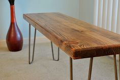 Hairpin leg wood bench by jlswoodwork on Etsy