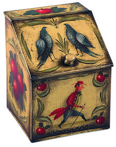"Featured Artwork of the Day: Werner C. Wrede ""Tin Box"" mixed media on metal 6 x 5 x 5 inches undated Primitive Painting, Tole Painting, Painting On Wood, Russian Painting, Art Nouveau, Hand Painted Furniture, Vintage Tins, Tin Boxes, Traditional Art"
