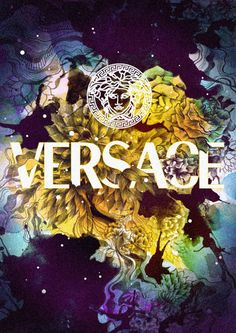 Versace. Clothing. Fashion. Clean. New. Illustration. Colorful. Power. Expression. Typography. White & Yellow. Font. Print. Brand. Symbol. Circle. Space. Paint. Flowers. Nature. Inspiration. Design.
