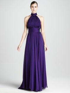 Bright Halter A-Line/Princess Chiffon Sleeveless Floor-Length Bridesmaid Dress