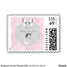 Gorgeous Custom Vintage Pink Baby Girl Postage Stamps