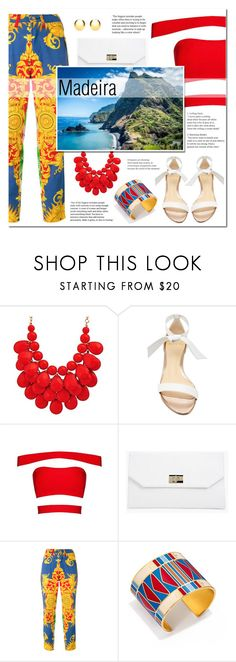 """Madeira"" by lifestyle-ala-grace ❤ liked on Polyvore featuring Alexandre Birman, Boohoo, Versace, Tory Burch, IBB, red, sandals, pants, statementnecklace and Madeira"