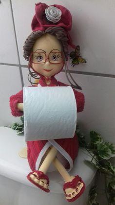 Toilet roll holder hanging shelf Textile Doll Toilet tissue holder Bathroom organiser Toilet paper H Diy Toilet Paper Holder, Toilet Roll Holder, Towel Holder, Doll Clothes Patterns, Doll Patterns, Foam Crafts, Diy Crafts, Kitchen Cupboard Designs, Animal Knitting Patterns