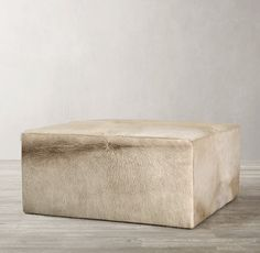 Brick Discover Cooper Hair-On-Hide Square Ottoman Cowhide Ottoman, Leather Ottoman, Furniture Vanity, Furniture Design, Condo Living Room, Rh Rugs, Ottoman Table, Square Ottoman, Storage Mirror