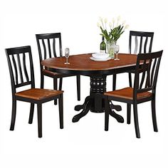 East West Furniture AVAT5-BLK-W 5-Piece Dining Table Set |