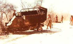 This buffel were hit by a double cheese mine Nkonko 1982 Army Pics, Defence Force, Cold War, Military Vehicles, South Africa, African, History, Soldiers, Outdoor