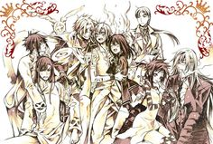 """D.Gray-man"" Alma, Kanda, Timcanpy, Lavi, Allen, Lenalee, Link, Road, and Cross."