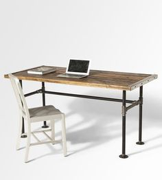 Stunning reclaimed wood desk with industrial pipe legs by Lumber Juan - Shoppe by Scoutmob