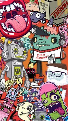 Rolling678lips2 Sticker Bomb Wallpaper, Graffiti Wallpaper Iphone, Pop Art Wallpaper, Apple Wallpaper, Wallpaper Iphone Cute, Galaxy Wallpaper, Cartoon Wallpaper, Graffiti Doodles, Graffiti Cartoons