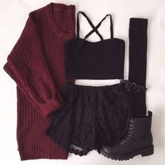 Maroon Sweater • Black Crop Top • Black Lace Shorts • Thigh-highs • Boots
