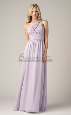Lilac Long Lace Empire Waist One Shoulder Bridesmaid Dress BD-IE1326 in Purple Long Empire Waist One Shoulder Bridesmaid Dresses