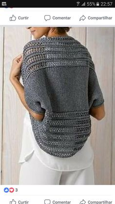 Shrug Knitting Pattern, Knitting Patterns, Crochet Shawls And Wraps, Knit Crochet, Men Sweater, Pullover, Couture, Sewing, Crocheting