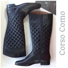 """NEW CORSO COMO quilted leather black tall boots 9 A quilted pattern on this boots shaft gives texture and adds a trendy edge to your look.  Hard to find, comfort boots. SOLD OUT EVERYWHERE for new boots.  Leather upper with quilted patterning  15 1/2 """" shaft height, inside zipper  15"""" calf circumference with asymmetrical topline  1"""" block heel  Synthetic sole  Imported. Boots will ship only in their original box due to size. Please check my closet for new high end and designer shoes and…"""