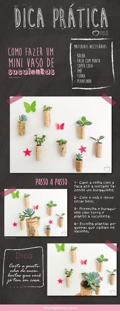 O mini vaso desuculentas é uma ideia linda, fácil e sustentável! Aproveitamos as rolhas que sobram, transformando-as em vasinhos! Mas esses vasos, além de superdelicados e ficarem lindos na decoração, são bem úteis também, pois como as rolhas não param…