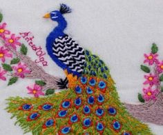 Aprende con kiara - Manualidades en Crochet Ribbon Embroidery Tutorial, Basic Embroidery Stitches, Hand Embroidery Videos, Types Of Embroidery, Beaded Embroidery, Embroidery Patterns, Peacock Embroidery Designs, Lazy Daisy Stitch, Christmas Embroidery
