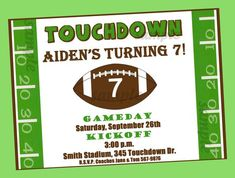 Football Invitation Printable Or Printed With FREE SHIPPING