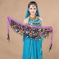 f3cf8d3c0a885 Dança do Ventre Lenços de Quadril para Dança do Ventre Mulheres  Apresentação Chiffon Lantejoulas 1 Peça