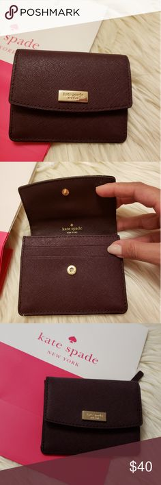 02d60298f8e27 Kate Spade Petty Wallet • Mahogany • Saffiano Leather • Key Chain attached  • Gold tone