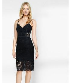 Piped Lace  Dress Black Women's 0
