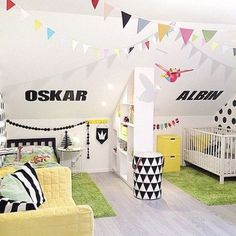 30 Awesome Shared Boys' Room Designs To Try LOVE THE WALL DIVIDER, colors, patterns, & all for sharing a room