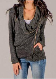Side Zipper Pocket Long Sleeve Jacket