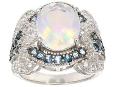 2.34ct Oval Ethiopian Opal, .84ctw Round London Blue Topaz With .66ctw