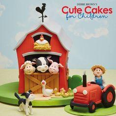 Farm Birthday Cakes, Baby Boy Birthday Cake, Farm Animal Party, Farm Animal Birthday, Farm Themed Party, Farm Party, Vegetable Garden Cake, Barn Cake, Cool Gingerbread Houses