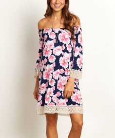 Take a look at this PinkBlush Navy Blue Floral Maternity Off-Shoulder Dress today!