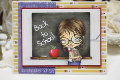 Whimsy Stamps, Lizzy Love, Becca's first day, Copic markers, Back to school card
