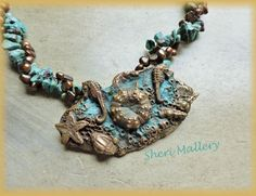by Sheri Mallery, Sea Life Tide Pool ,  Bronze metal clay necklace.