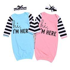 35bfcd12c77 2pcs Baby Sleeping Bag Spring Autumn Cotton Girl Anti-kicking Long Sleeve  Newborn Gowns Sleepwear Pajamas Costumes with Headband