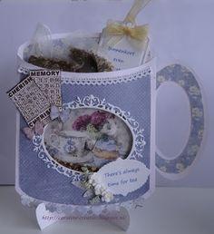 Caroline's Creaties: There's always time for tea Nursing Home Activities, Paper Cards, Box, Tea Pots, Challenges, Memories, Templates, Tea Cup, Card Ideas