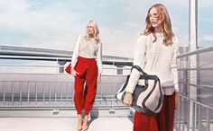 Red pants in center. Knits included.  Anja Rubik & Suvi Koponen Chloe Fall 2012 Campaign