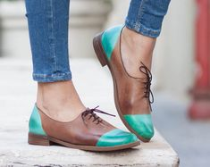 Las mujeres cuero, cuero de Oxford, Oxford zapatos, zapatos de cuero, pintados a cerraron, zapatos verdes, envío gratis