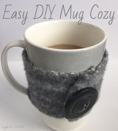 No more burned fingers! Easy DIY mug cozies require little to NO sewing! Great gift idea!