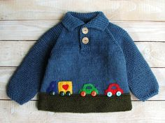 Baby Boys Wool Sweater  Boys Hand Knitted by SilverMapleKnits