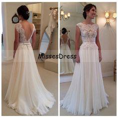 Vintage Beach Wedding Dress 2015 Elegant Scoop Cap Sleeve Applique Backless Wanda Borges Wedding Dresses vestidos de noiva-in Wedding Dresses from Weddings & Events on Aliexpress.com | Alibaba Group