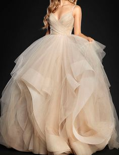Shinning Stardusted Tulle Ball Gown Bridal Dress with Cascade SkirtFully lined and with built-in cupsFabric: TulleShown Color: ChampagneAvailable Color: As Picture, Custom Color (No surcharge, pls ref..