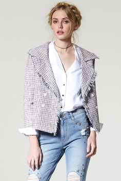 Ella Frayed Tweed Jacket Discover the latest fashion trends online at storets.com