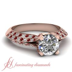 Round Diamonds and Red Ruby 14K Rose Gold Side Stone Engagement Ring in Pave Setting || Tetrad Pave Ring