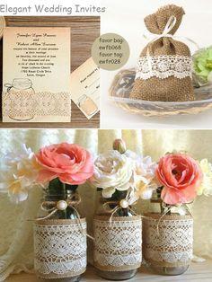 rustic vintage burlap lace mason jar favors, invitations & decorations