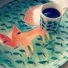 Donna's morning coffee + Acorn Mug + Fox in the Leaves Tray, from Donna's instagram - follow at @Donna Wilson !