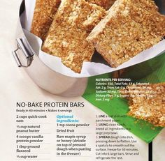 Check out this NO-BAKE PROTEIN BARS recipe from Oxygen magazine's August issue.  If you like this recipe, wait until you see what else is in this issue! It's hits shelves July 19th!