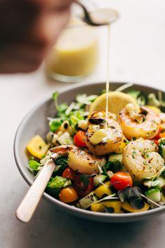 Super Fresh Grilled Shrimp Salad with Honey Mustard Dressing Recipe | Little Spice Jar